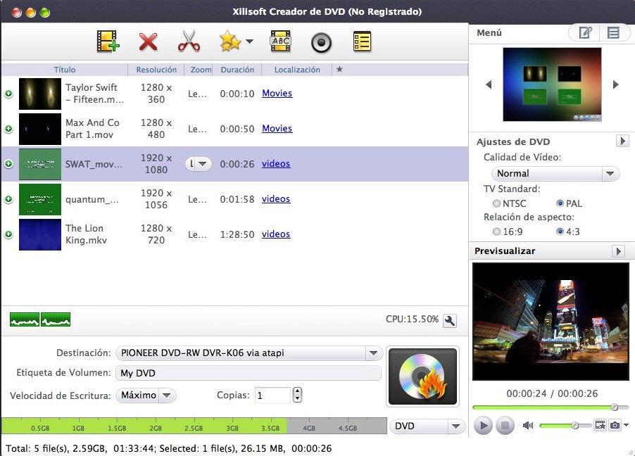 Xilisoft Creador de DVD para Mac