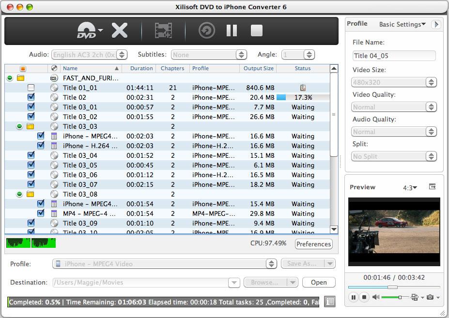 Xilisoft DVD a iPhone Convertidor Mac