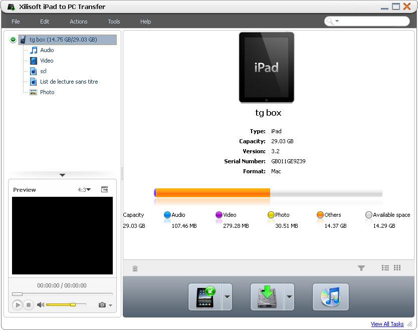Xilisoft Transferir iPad a PC - Sreenshot